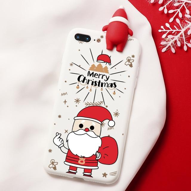 Christmas 3D Bear Deer Santa Cartoon iPhone Case - Silicone Matte Cover For iPhone - iPhone 6 6S / Santa White
