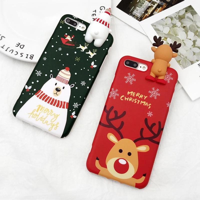 Christmas 3D Bear Deer Santa Cartoon iPhone Case - Silicone Matte Cover For iPhone