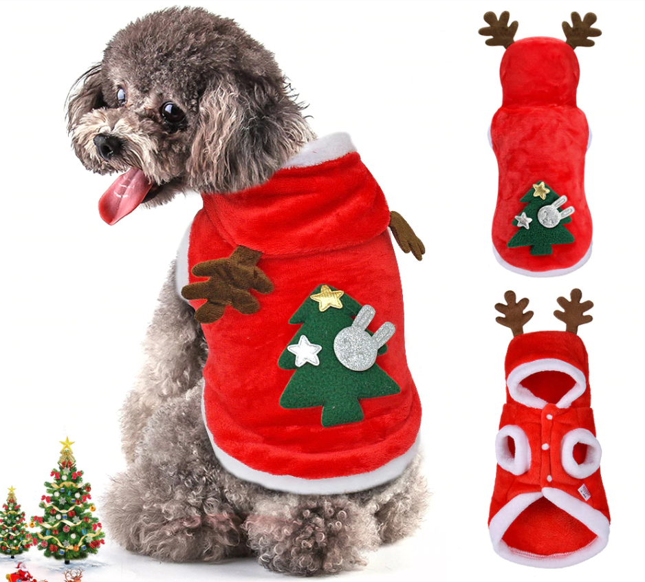 Christmas Reindeer Costume For Pets - Christmas Cloth For Small Dogs & Cats - Dog Coats & Jackets