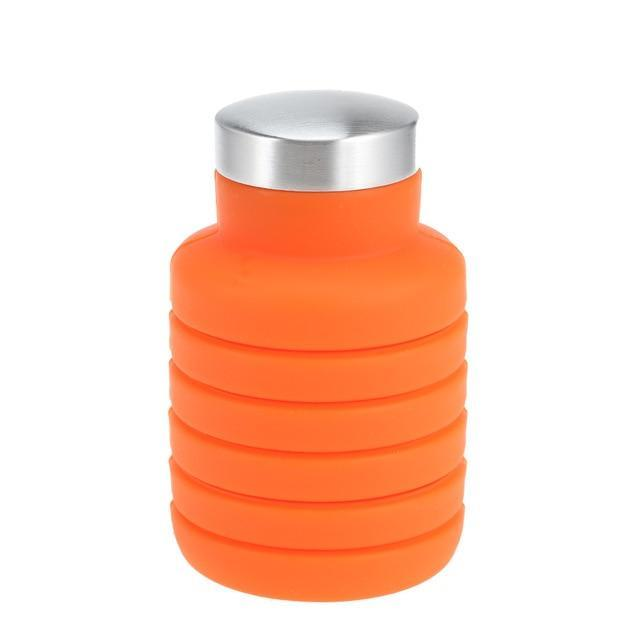 Collapsible Silicone Water Bottle Folding Traveling Bottle - Orange