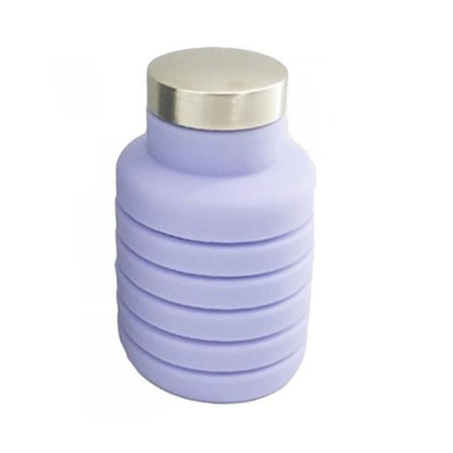 Collapsible Silicone Water Bottle Folding Traveling Bottle - Purple