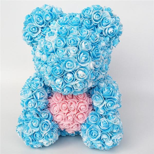 Colorful Bear Of Roses With Love Heart - 3D Foam Rose Bear - Blue Pink