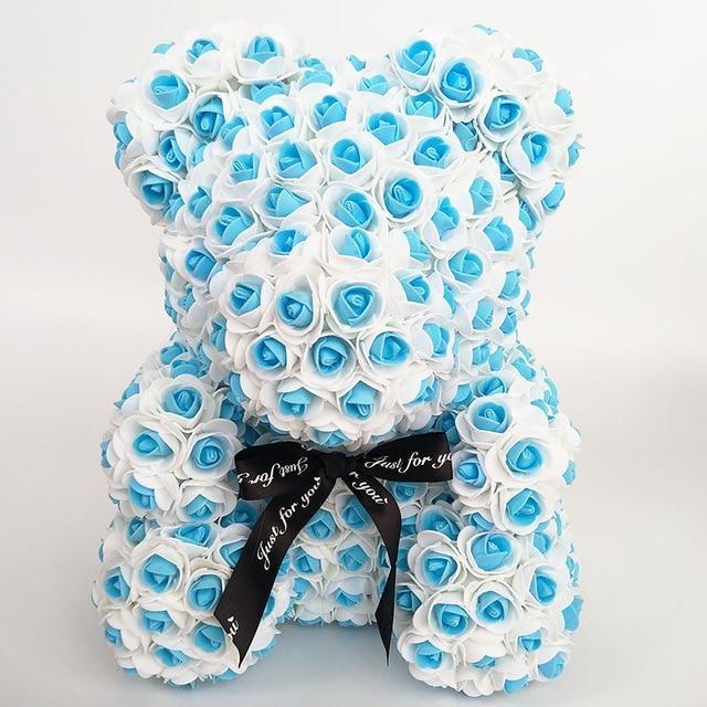 Colorful Bear Of Roses With Love Heart - 3D Foam Rose Bear - Blue