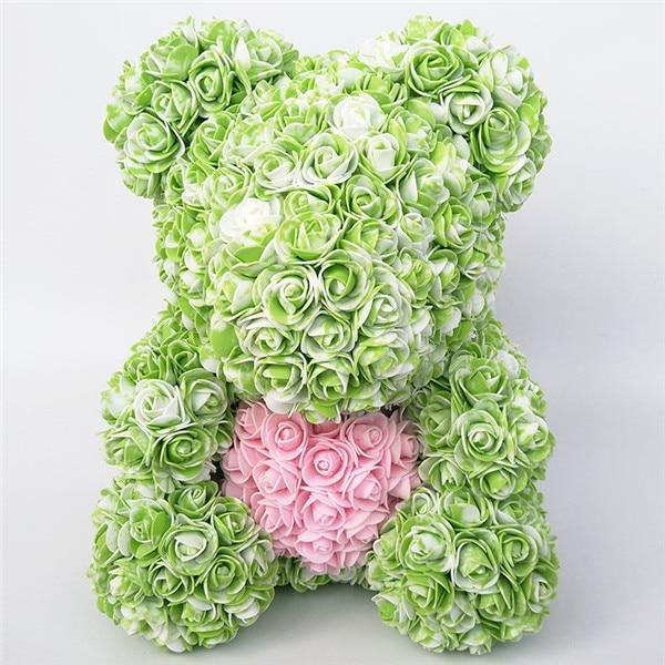 Colorful Bear Of Roses With Love Heart - 3D Foam Rose Bear - Green Pink