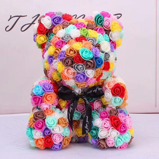Colorful Bear Of Roses With Love Heart - 3D Foam Rose Bear - Multicolor