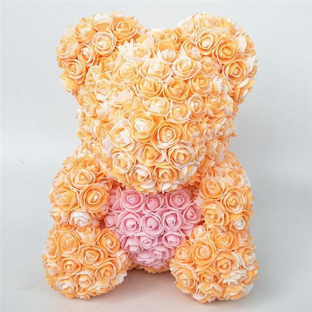 Colorful Bear Of Roses With Love Heart - 3D Foam Rose Bear - Orange Pink