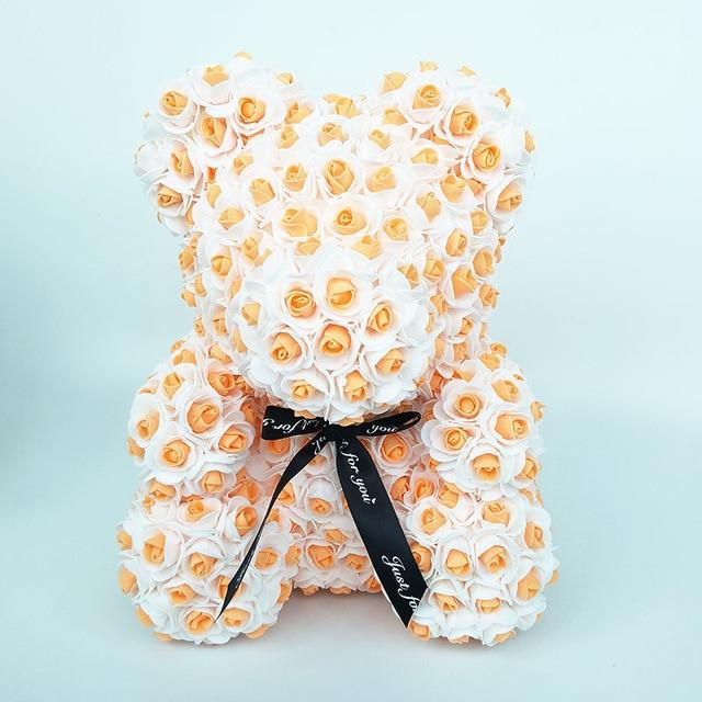 Colorful Bear Of Roses With Love Heart - 3D Foam Rose Bear - Orange