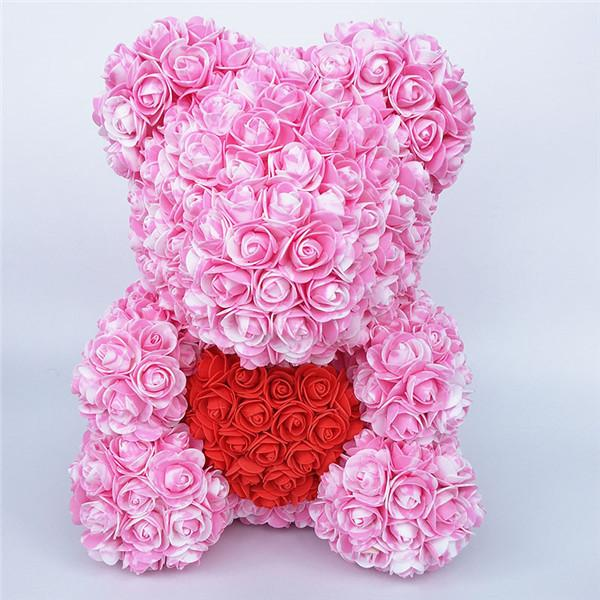 Colorful Bear Of Roses With Love Heart - 3D Foam Rose Bear - Pink Red
