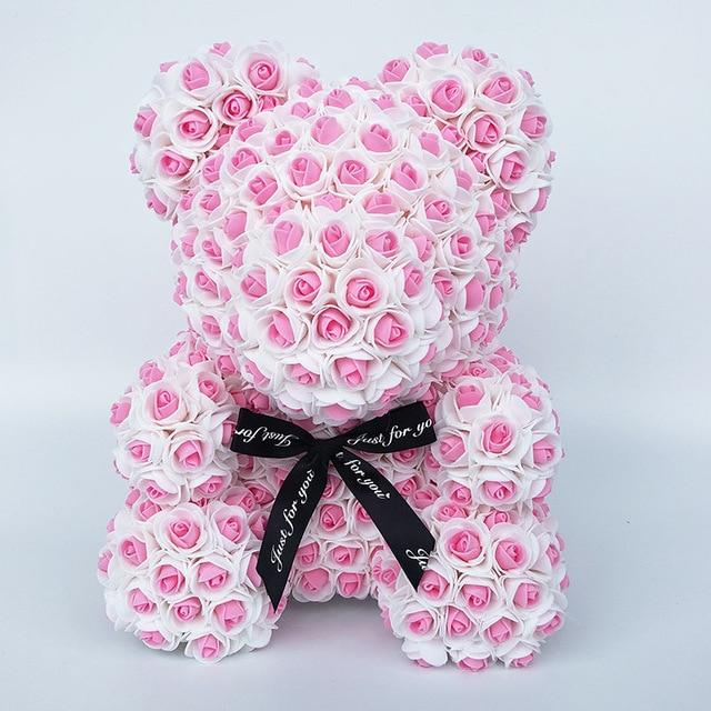 Colorful Bear Of Roses With Love Heart - 3D Foam Rose Bear - Pink