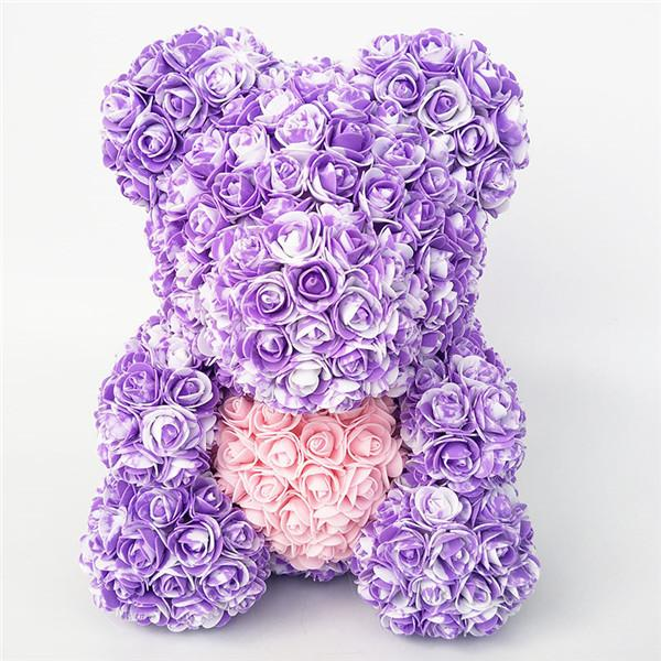 Colorful Bear Of Roses With Love Heart - 3D Foam Rose Bear - Purple Pink