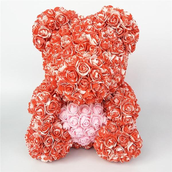 Colorful Bear Of Roses With Love Heart - 3D Foam Rose Bear - Red Pink