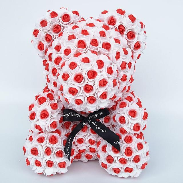 Colorful Bear Of Roses With Love Heart - 3D Foam Rose Bear - Red