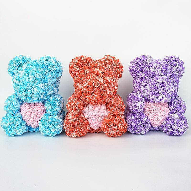 Colorful Bear Of Roses With Love Heart - 3D Foam Rose Bear