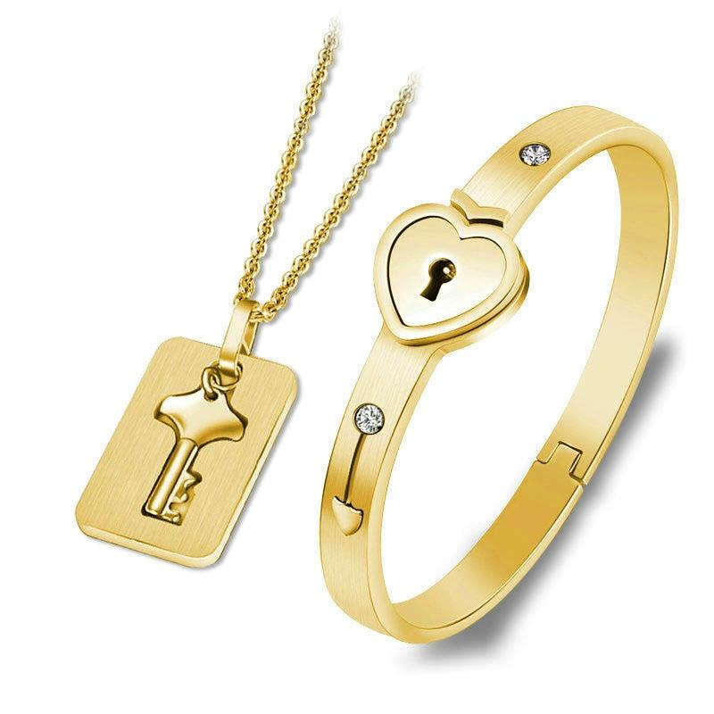 Couples Jewelry Set Love Heart Lock Bracelet Key Pendant Necklace For Lovers - Gold