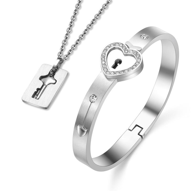 Couples Jewelry Set Love Heart Lock Bracelet Key Pendant Necklace For Lovers - Rhodium Plated Silver