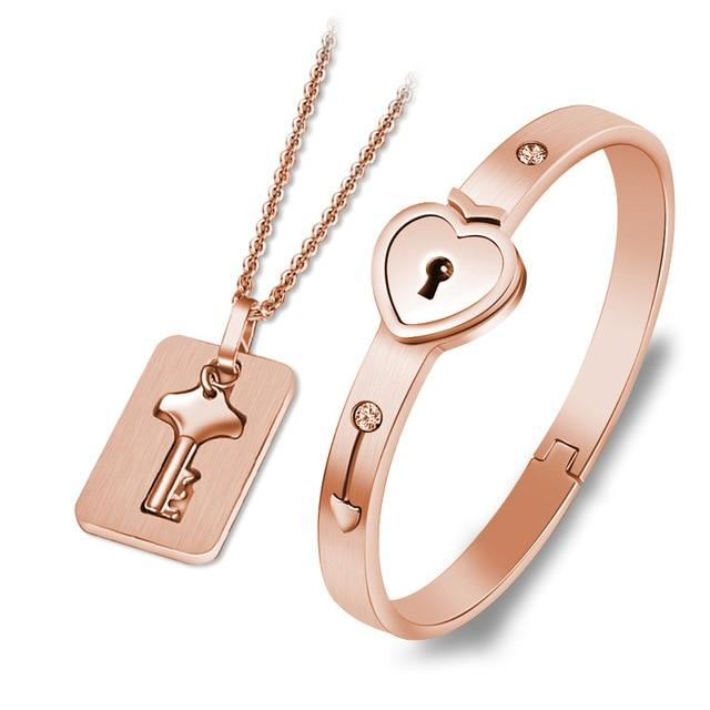 Couples Jewelry Set Love Heart Lock Bracelet Key Pendant Necklace For Lovers - Rose Gold