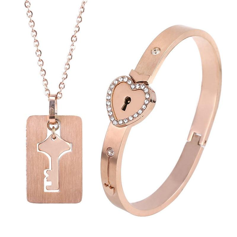 Couples Jewelry Set Love Heart Lock Bracelet Key Pendant Necklace For Lovers - Zinc Plated Rose Gold