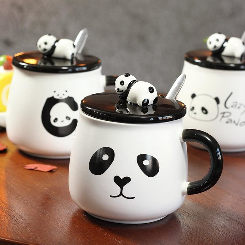 Creative Ceramic Heat-Resistant 3D Panda Coffee Cup With Lid