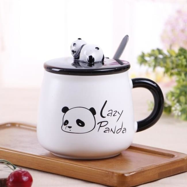 Creative Ceramic Heat-Resistant 3D Panda Coffee Cup With Lid - Style 1