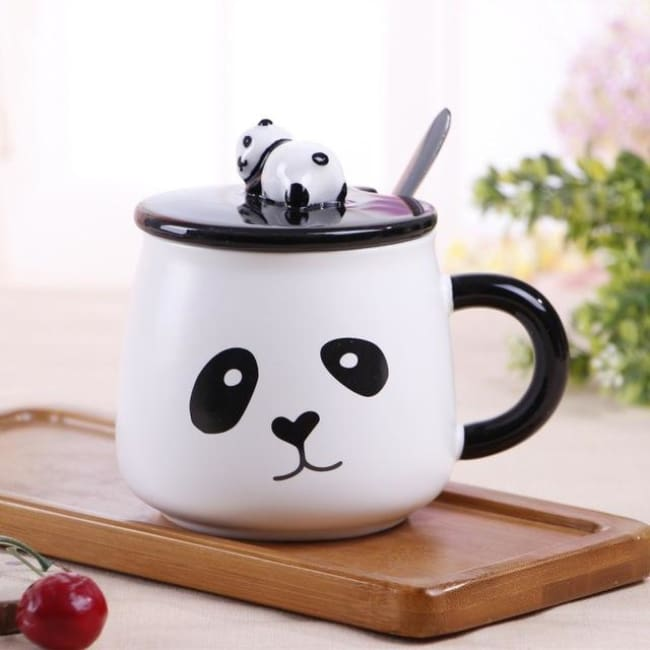 Creative Ceramic Heat-Resistant 3D Panda Coffee Cup With Lid - Style 2