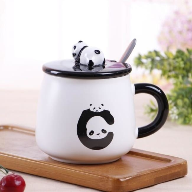 Creative Ceramic Heat-Resistant 3D Panda Coffee Cup With Lid - Style 3