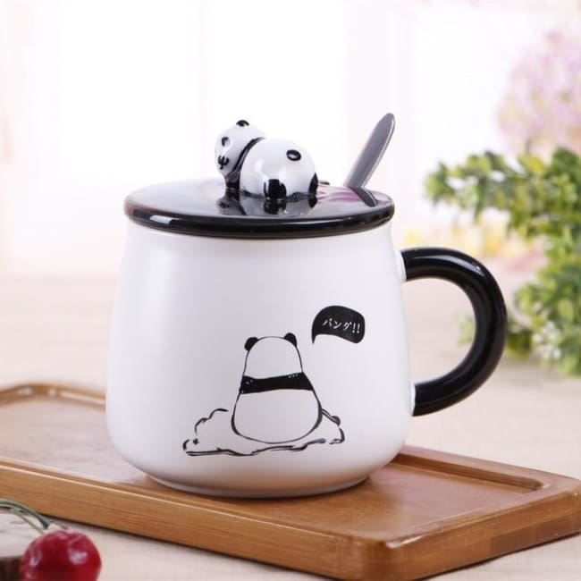 Creative Ceramic Heat-Resistant 3D Panda Coffee Cup With Lid - Style 4