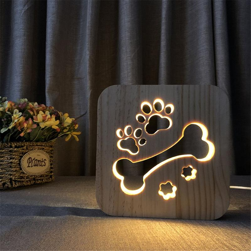 Creative Wooden Table Lamp Dog Paw Bedroom Decoration Night Light - Dog Bone