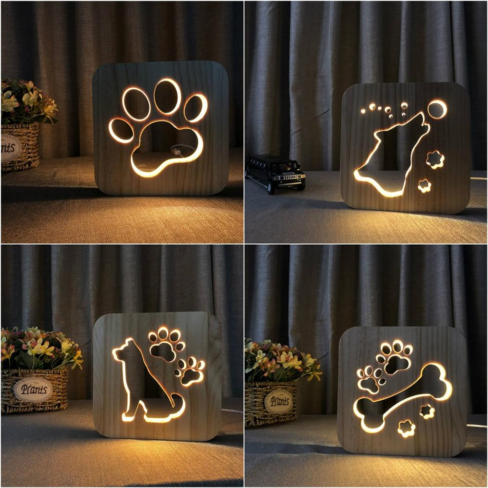 Creative Wooden Table Lamp Dog Paw Bedroom Decoration Night Light