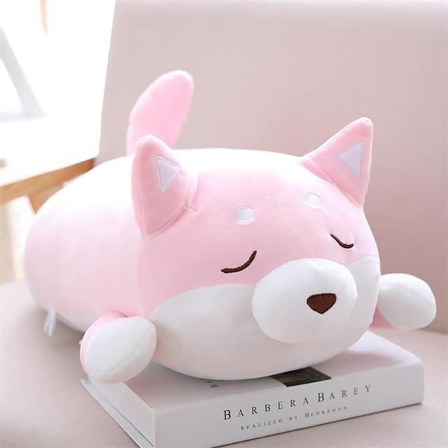Cute Fat Shiba Inu Plush Stuffed Toy/pillow - 35Cm / Pink Close Eye