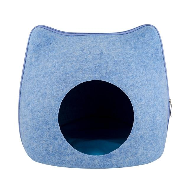 Detachable Portable Natural Felt Cat Cave - Cat Pet Bed House With Cushion - A Blue Bed and Mat - Cat Beds & Mats