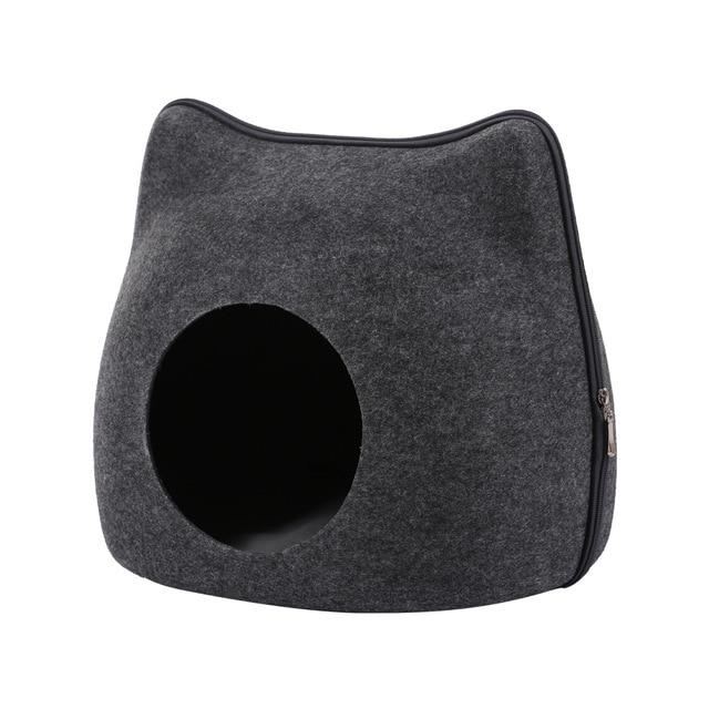 Detachable Portable Natural Felt Cat Cave - Cat Pet Bed House With Cushion - A Gray Bed and Mat - Cat Beds & Mats
