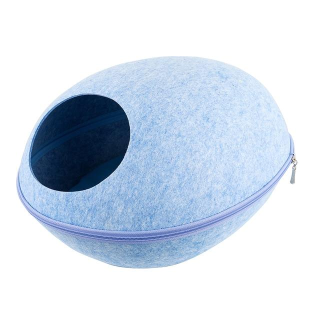 Detachable Portable Natural Felt Cat Cave - Cat Pet Bed House With Cushion - B Blue Bed and Mat - Cat Beds & Mats
