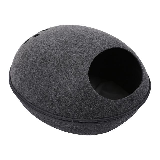 Detachable Portable Natural Felt Cat Cave - Cat Pet Bed House With Cushion - B Gray Bed and Mat - Cat Beds & Mats