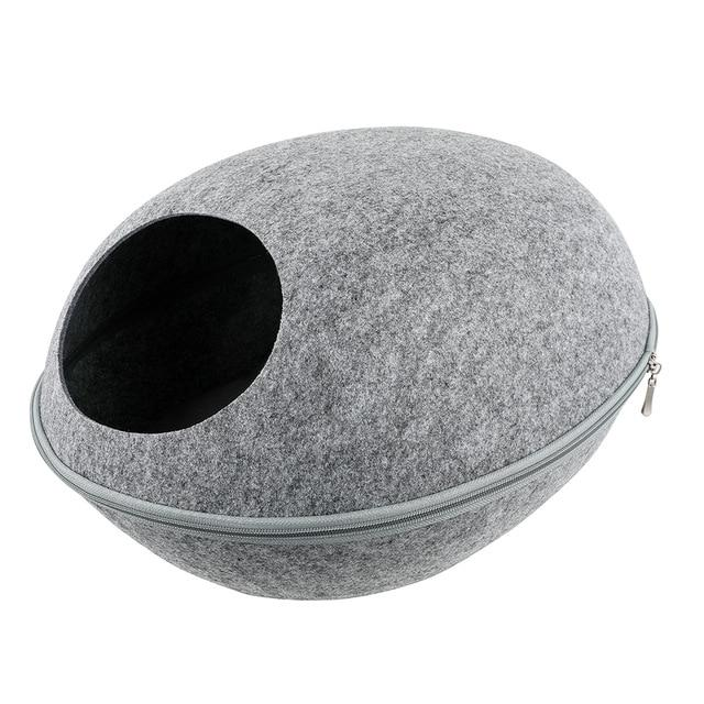 Detachable Portable Natural Felt Cat Cave - Cat Pet Bed House With Cushion - B Light Gray Bed and Mat - Cat Beds & Mats
