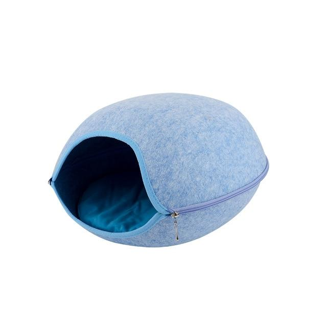 Detachable Portable Natural Felt Cat Cave - Cat Pet Bed House With Cushion - C Blue Bed and Mat - Cat Beds & Mats