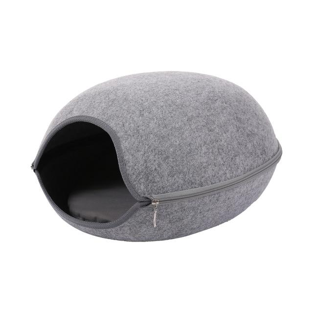 Detachable Portable Natural Felt Cat Cave - Cat Pet Bed House With Cushion - C Light Gray Bed and Mat - Cat Beds & Mats