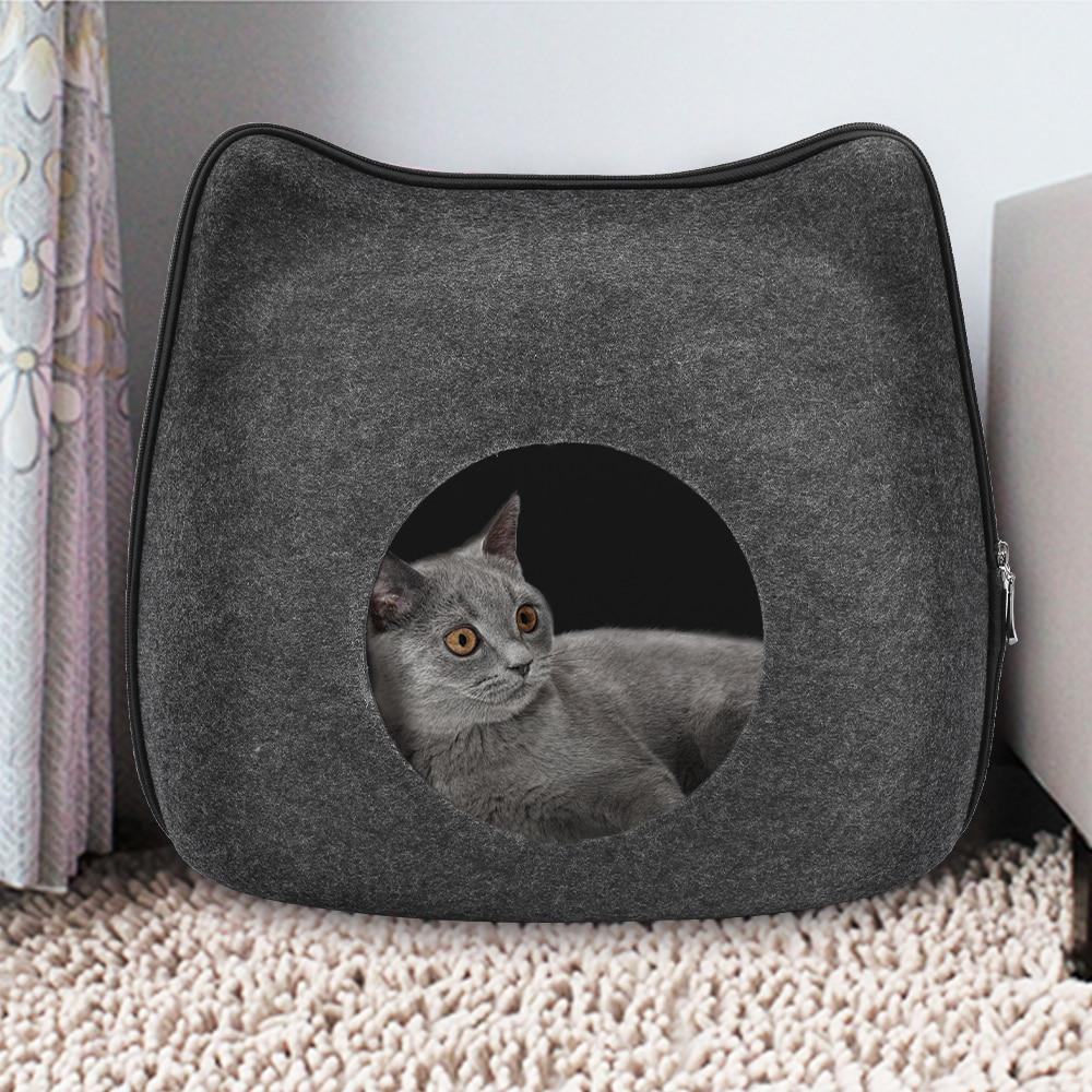 Detachable Portable Natural Felt Cat Cave - Cat Pet Bed House With Cushion - Cat Beds & Mats
