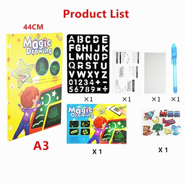 Draw With Light Magic Luminous Drawing Board Fun Educational Developing Toy - A3 44CM - Drawing Toys