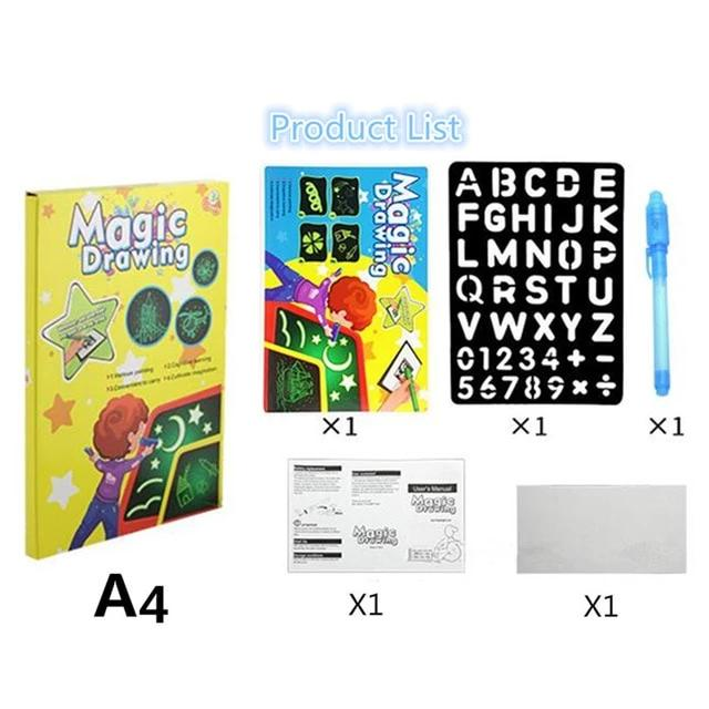 Draw With Light Magic Luminous Drawing Board Fun Educational Developing Toy - A4 33CM - Drawing Toys
