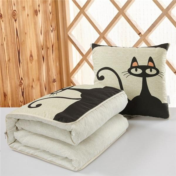 Dual Use Convertible Cushion Blanket - Foldable Pillow Lunch Break Quilt - Black Cat / Fold 45cm Unfold 120x160cm