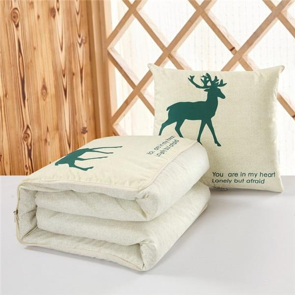 Dual Use Convertible Cushion Blanket - Foldable Pillow Lunch Break Quilt - Deer / Fold 45cm Unfold 120x160cm