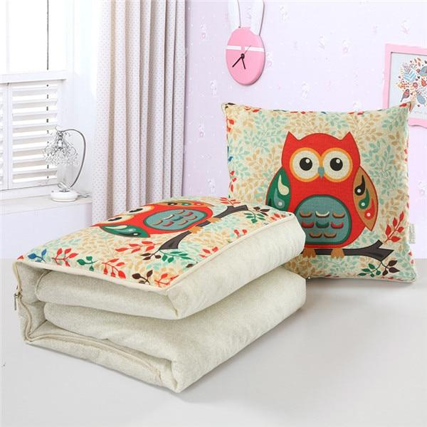 Dual Use Convertible Cushion Blanket - Foldable Pillow Lunch Break Quilt - Owl / Fold 45cm Unfold 120x160cm