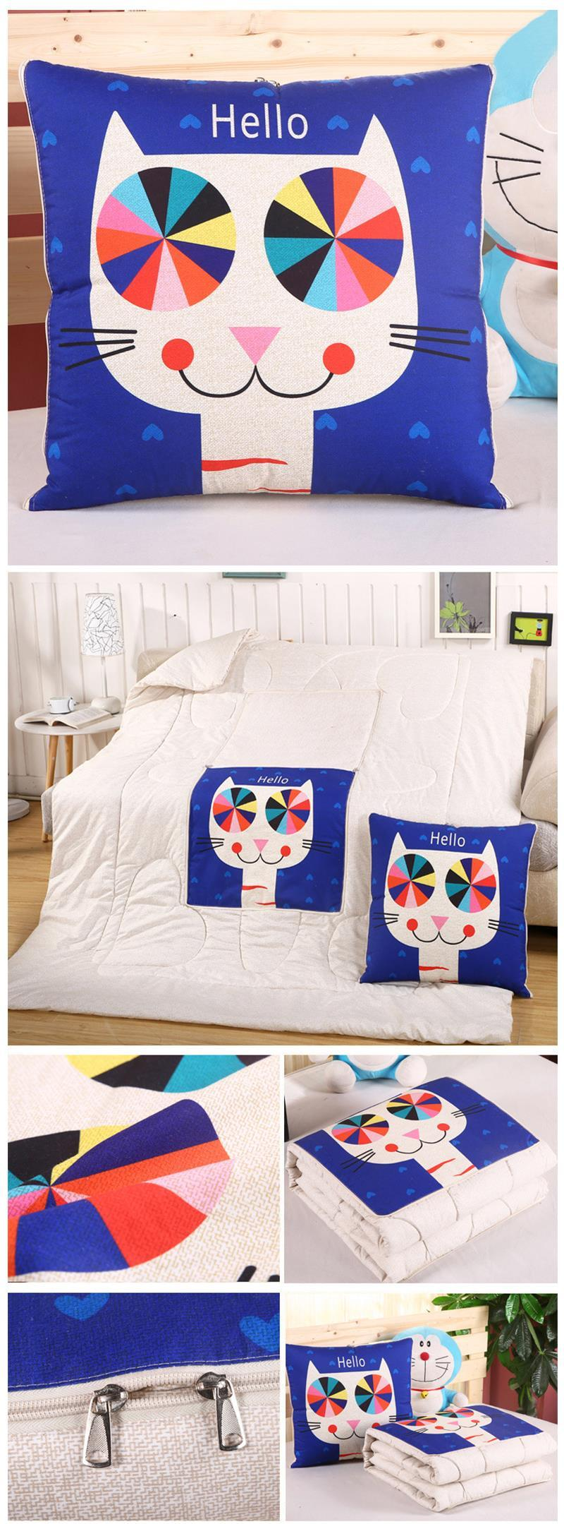 Dual Use Convertible Cushion Blanket - Foldable Pillow Lunch Break Quilt