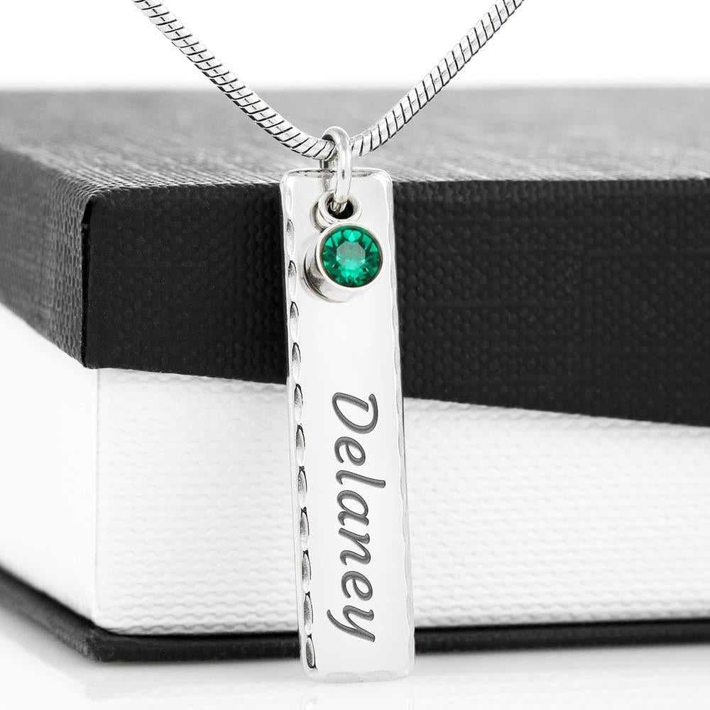 Engraved Name Tag Necklace With Birthstone - Birthstone Name Tag - Jewelry