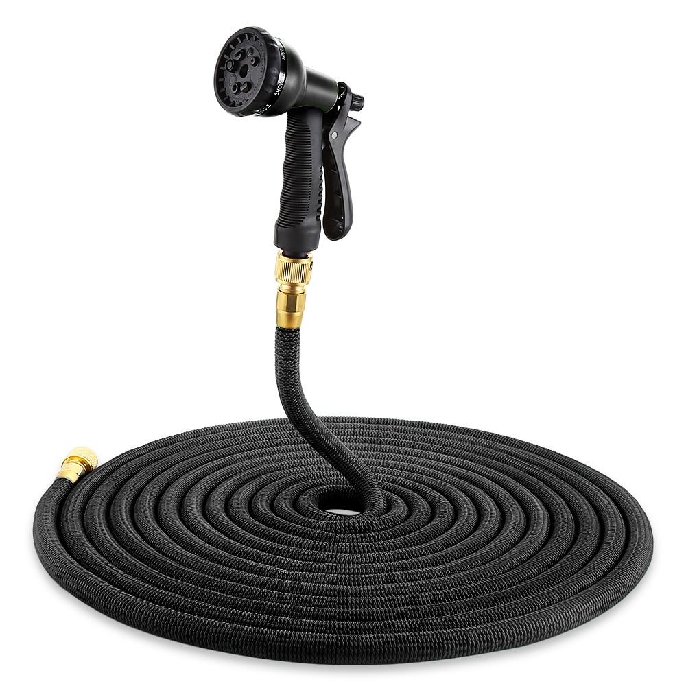 Expandable Magic Garden Hose - Flexible Pocket Hose With Spray Gun - 25ft / black