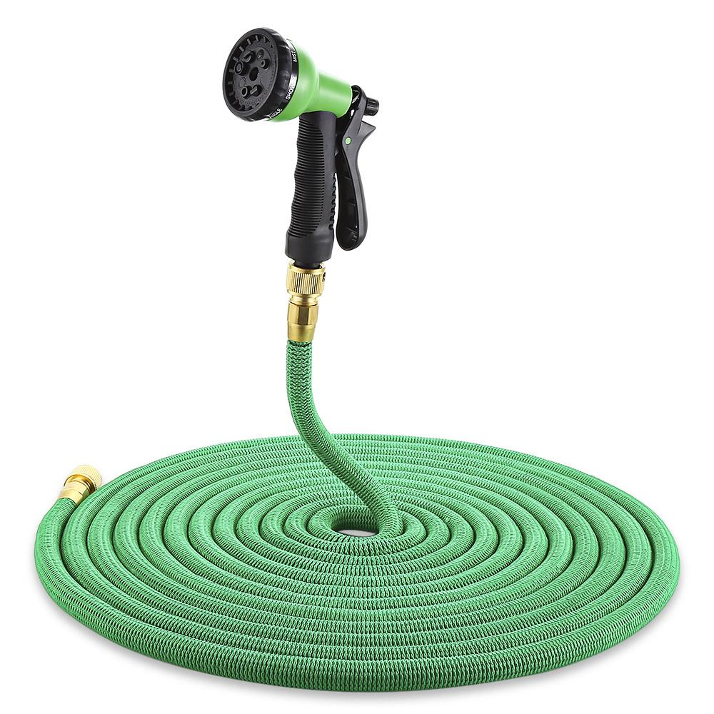 Expandable Magic Garden Hose - Flexible Pocket Hose With Spray Gun - 25ft / green
