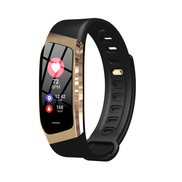 Fitness Smart Watch Waterproof Blood Pressure Heart Rate Monitor Sport Bracelet Tracker - Black Gold - Smart Wristbands
