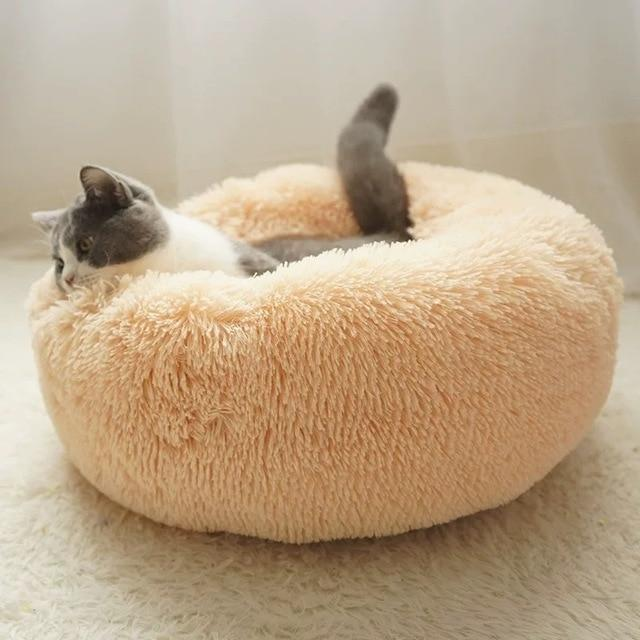 Fluffy Soft Warm Plush Round Pet Bed - Comfy Donut Dog Cat Fur Cushion Bed - Beige yellow / 70cm(M)