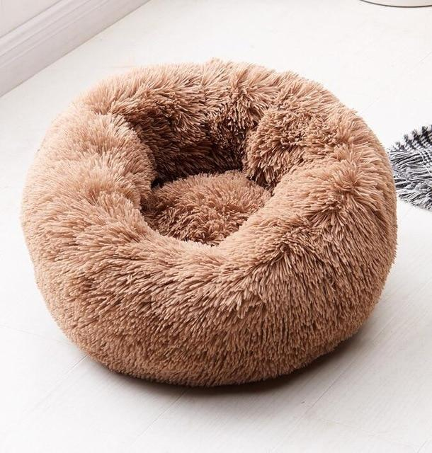 Fluffy Soft Warm Plush Round Pet Bed - Comfy Donut Dog Cat Fur Cushion Bed - Dark coffee / 70cm(M)