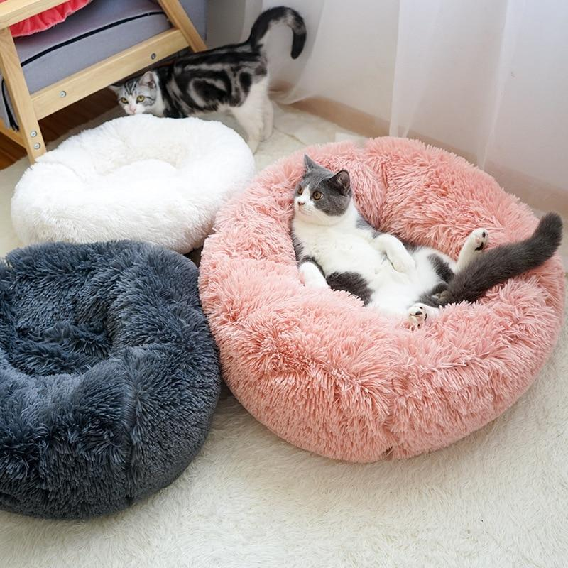 Fluffy Soft Warm Plush Round Pet Bed - Comfy Donut Dog Cat Fur Cushion Bed - Pink / 70cm(M)